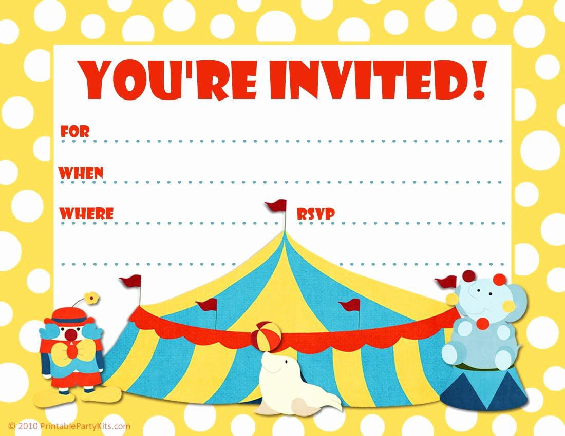 Free Printable Carnival Invitation Templates Inspirational Free Printable Party Invitations Templates