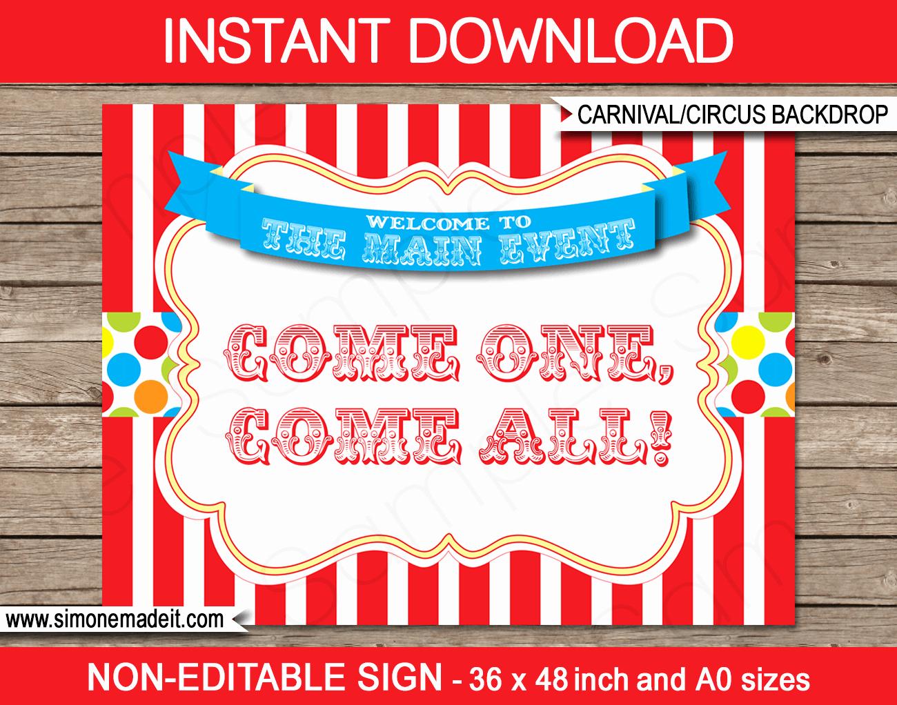 Free Printable Carnival Invitation Templates New Printable Carnival Party Backdrop Sign