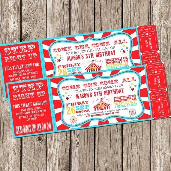 Free Printable Carnival Invitation Templates New Vintage Circus Carnival Invitation Ticket Invitation