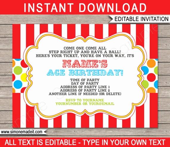 Free Printable Carnival Invitation Templates Unique Carnival Invitation Template Birthday Party Carnival Party