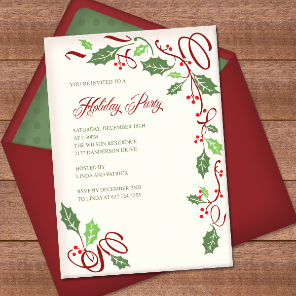 Free Printable Christmas Invitation Templates Elegant Christmas Invitation Template with Holly Border Design