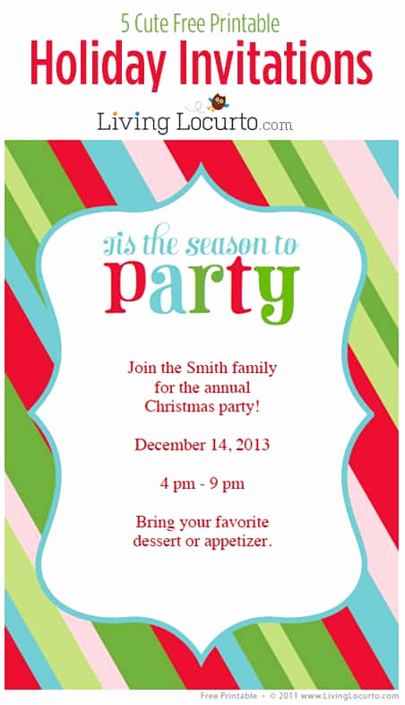 Free Printable Christmas Invitation Templates Lovely 5 Free Printable Holiday Party Invitations