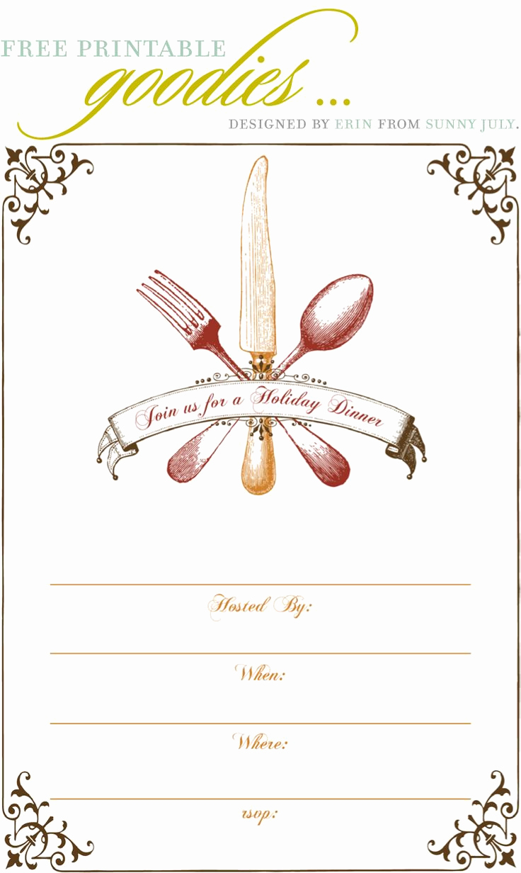 Free Printable Christmas Invitation Templates Lovely Free Printable Thanksgiving Dinner Invite