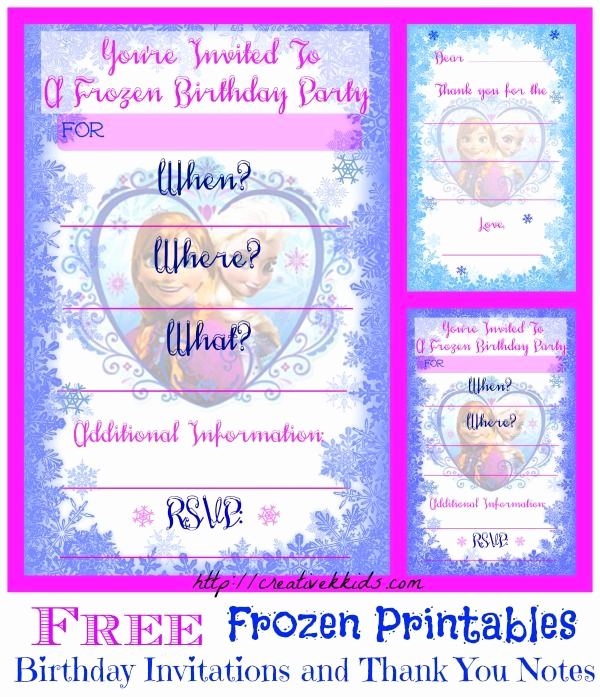 Free Printable Frozen Invitation Template Lovely Free Frozen Birthday Party Invitation and Thank You