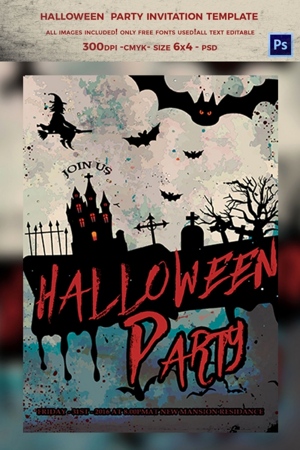 Free Printable Halloween Invitation Template Awesome 35 Halloween Invitation Free Psd Vector Eps Ai