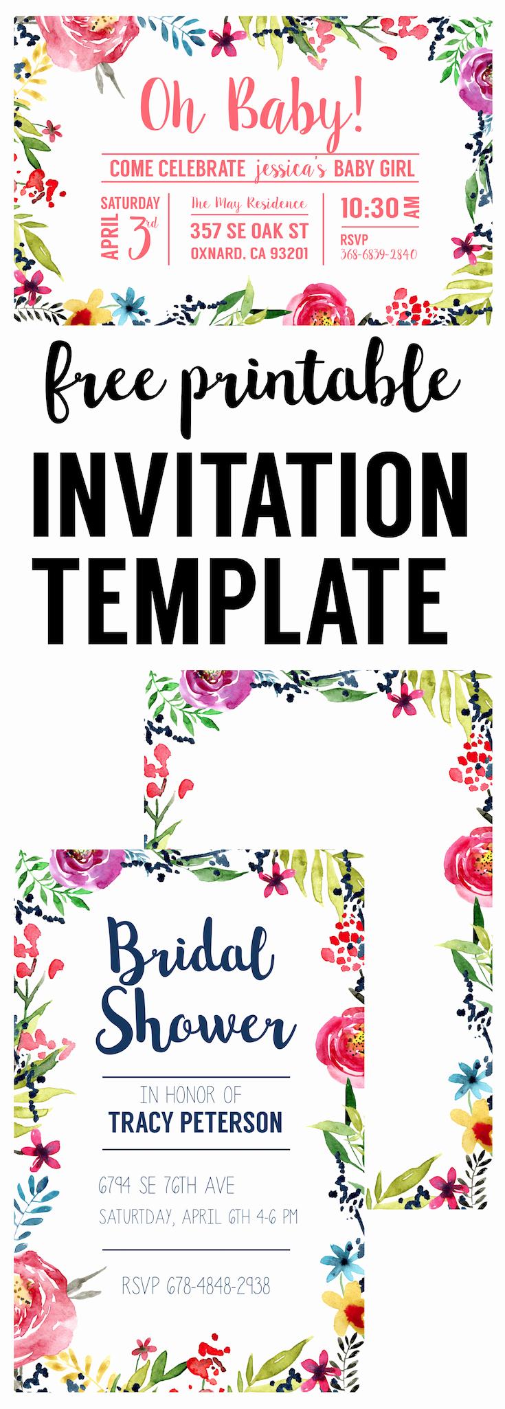 Free Printable Invitation Templates Awesome Floral Borders Invitations Free Printable Invitation