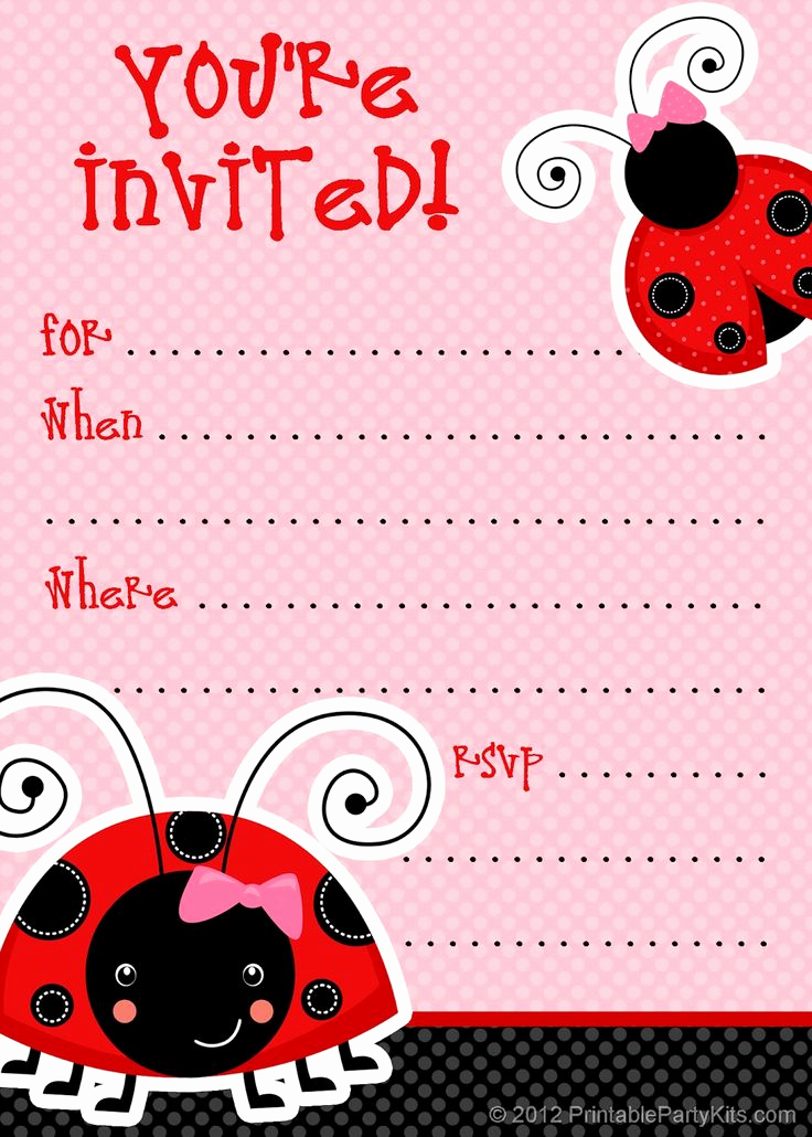 Free Printable Invitation Templates Beautiful 1 Free Printable Ladybug Invitation Blank Template 2
