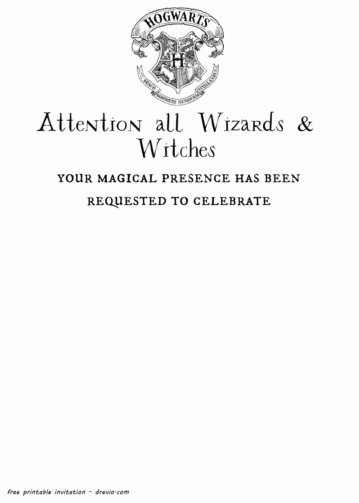Free Printable Invitation Templates New Free Printable Harry Potter Hogwarts Invitation Template