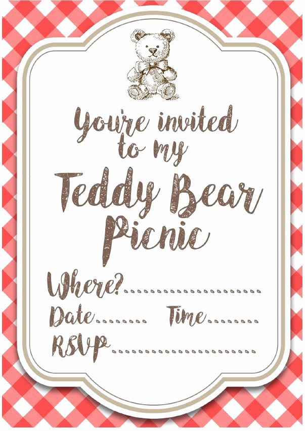 Free Printable Picnic Invitation Template Awesome 205 Best Images About Bears Printable On Pinterest