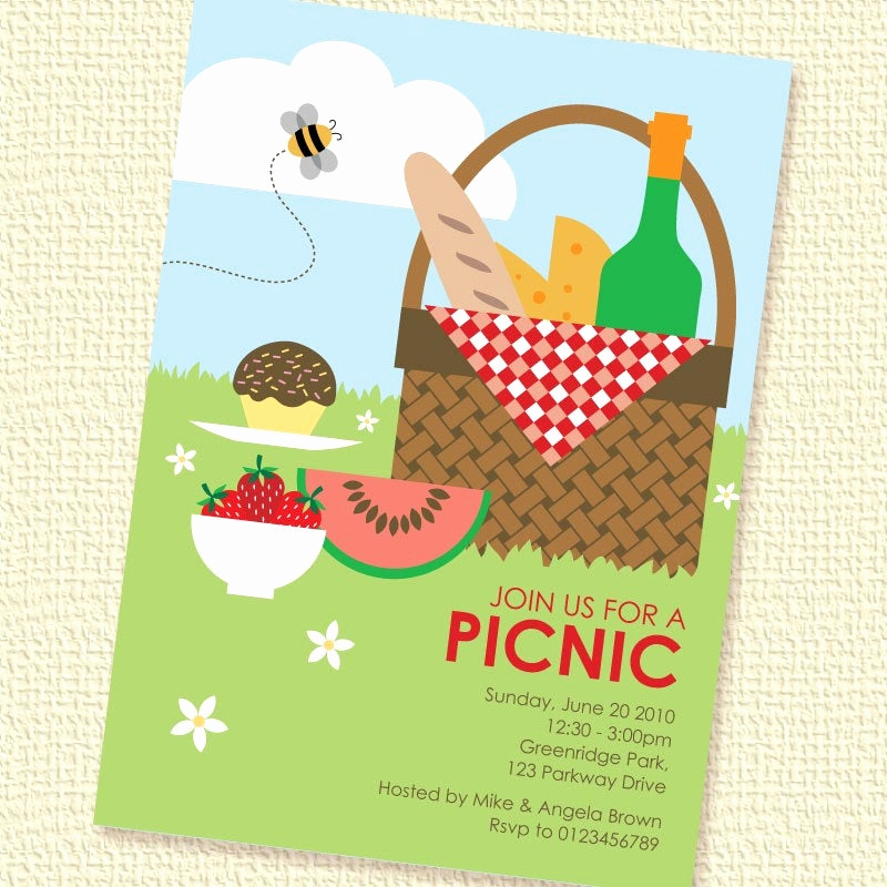 Free Printable Picnic Invitation Template Lovely Picnic Basket Printable Custom Personalized Invitation