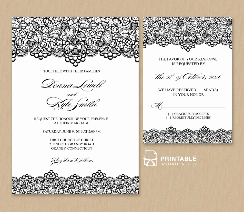 Free Printable Wedding Invitation Templates Best Of Free Pdf Wedding Invitation Template Black Lace Vintage