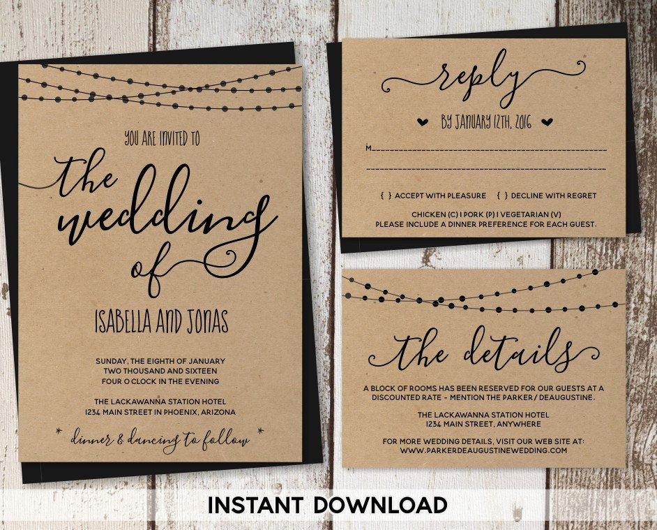 Free Rustic Wedding Invitation Templates Inspirational Wedding Invitation Template Rustic Printable Set