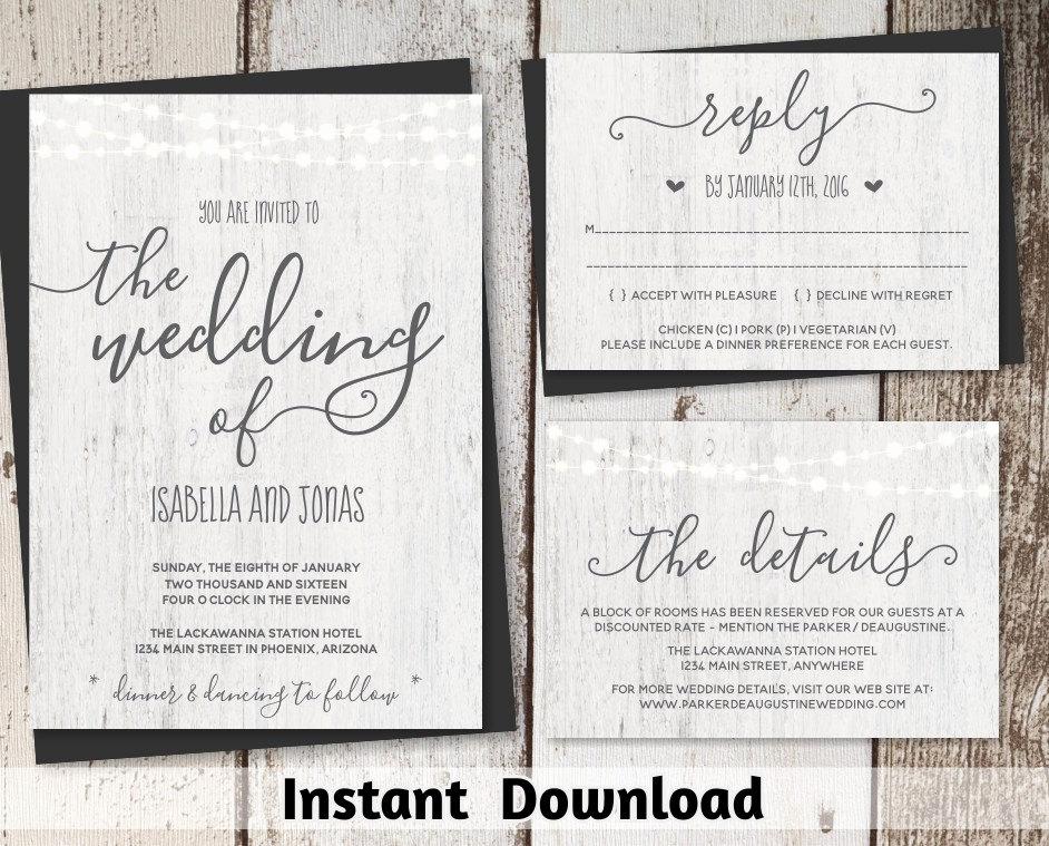 Free Rustic Wedding Invitation Templates New Rustic Wedding Invitation Template Printable Set Fairy