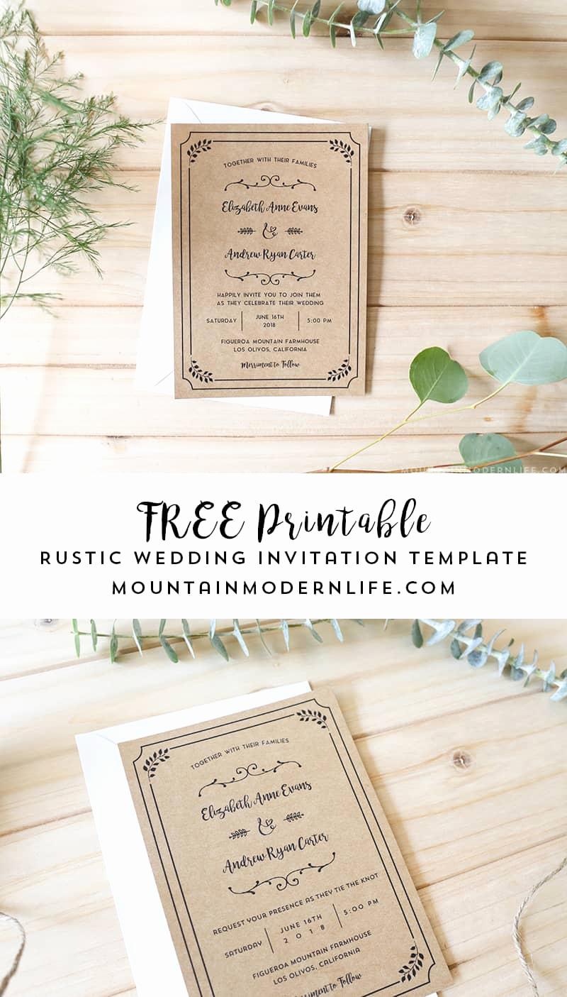 Free Rustic Wedding Invitation Templates Unique Free Printable Wedding Invitation Template
