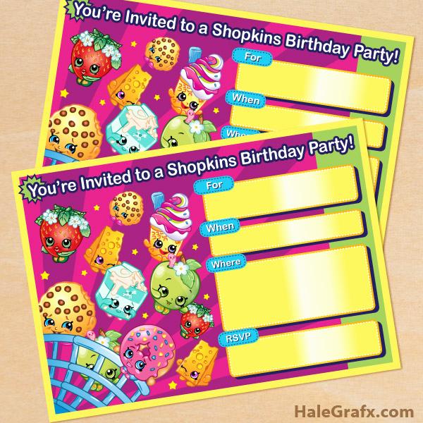 Free Shopkins Invitation Template Awesome Free Printable Shopkins Birthday Invitation