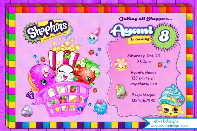 Free Shopkins Invitation Template Awesome Shopkins Birthday Invitation Printable File