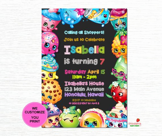 Free Shopkins Invitation Template Awesome Shopkins Birthday Invitation Shopkins Invitation Shopkins