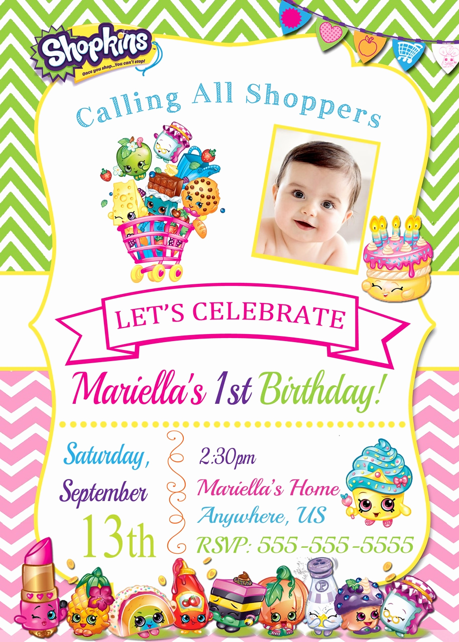 Free Shopkins Invitation Template Awesome Shopkins Birthday Invitations Partyexpressinvitations