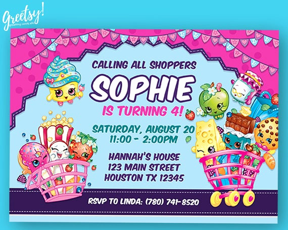 Free Shopkins Invitation Template Beautiful Shopkins Invitation Shopkins Birthday Shopkins Party