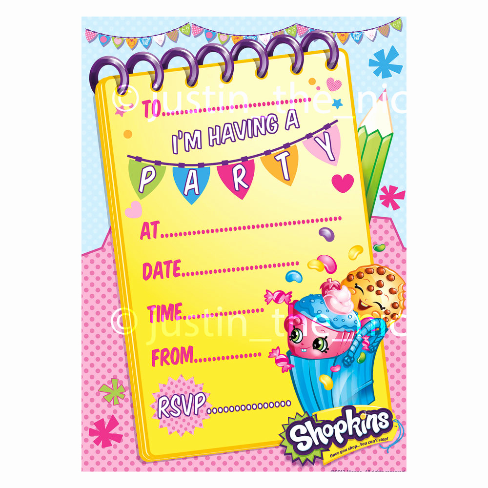 Free Shopkins Invitation Template Best Of Shopkins Childrens Kids Girls Birthday Party Invite
