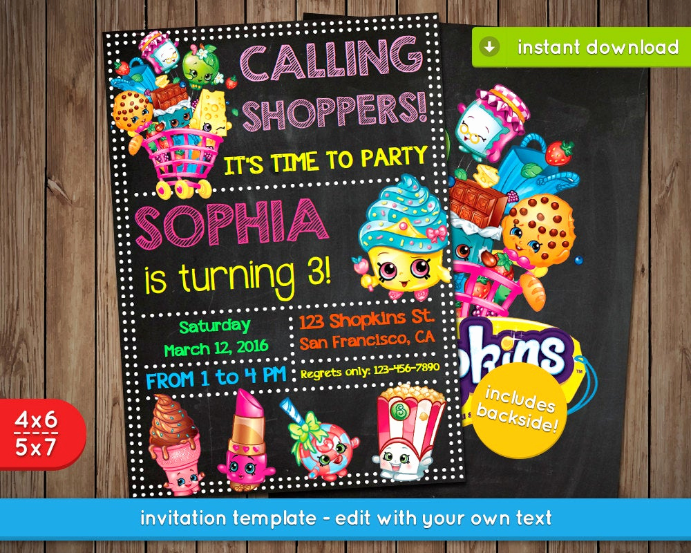 Free Shopkins Invitation Template Best Of Shopkins Invitation Printable Birthday Party Invite by Pixpics