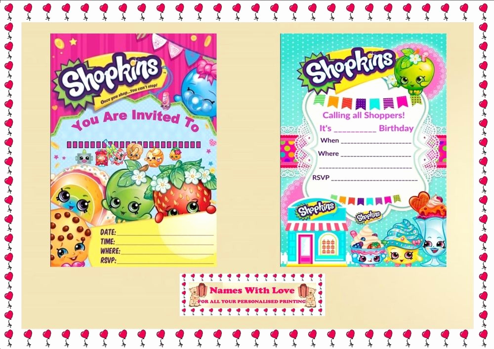 Free Shopkins Invitation Template Elegant Blank Shopkins Invitations Birthday Party Blank X 10