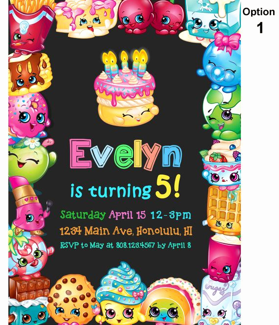 Free Shopkins Invitation Template Elegant Shopkins Birthday Invitation Shopkins Invitation