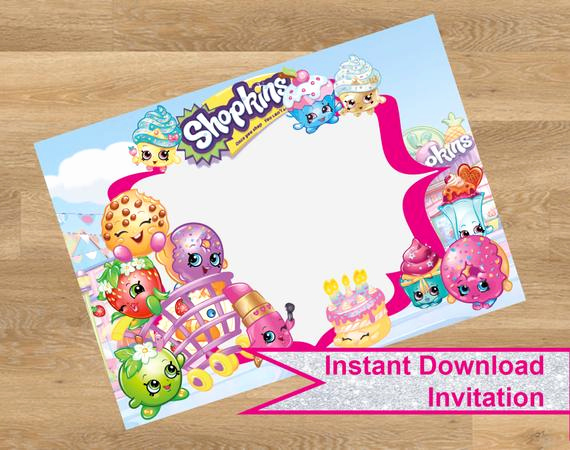 Free Shopkins Invitation Template Elegant Shopkins Invitation Shopkins Birthday by Designmadedesigns