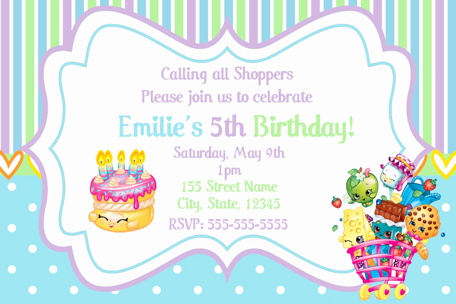 Free Shopkins Invitation Template Elegant Shopkins Invitations Shopkins Birthday Party Invitation