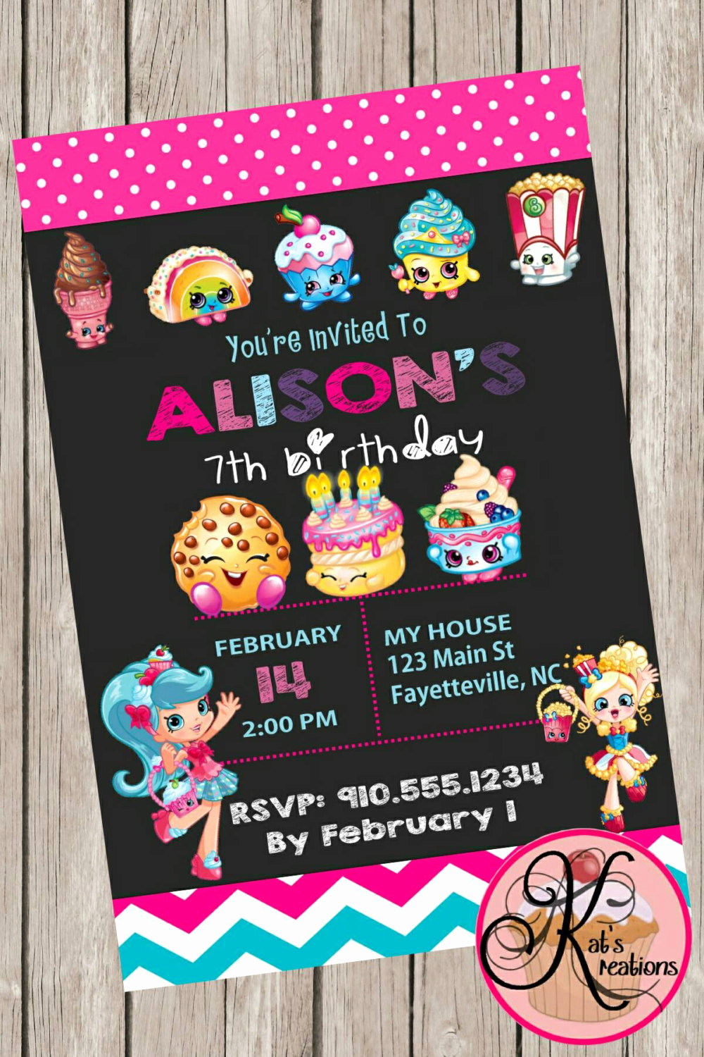 Free Shopkins Invitation Template Inspirational Shopkins Birthday Party Printable Invitation by Katskreations3