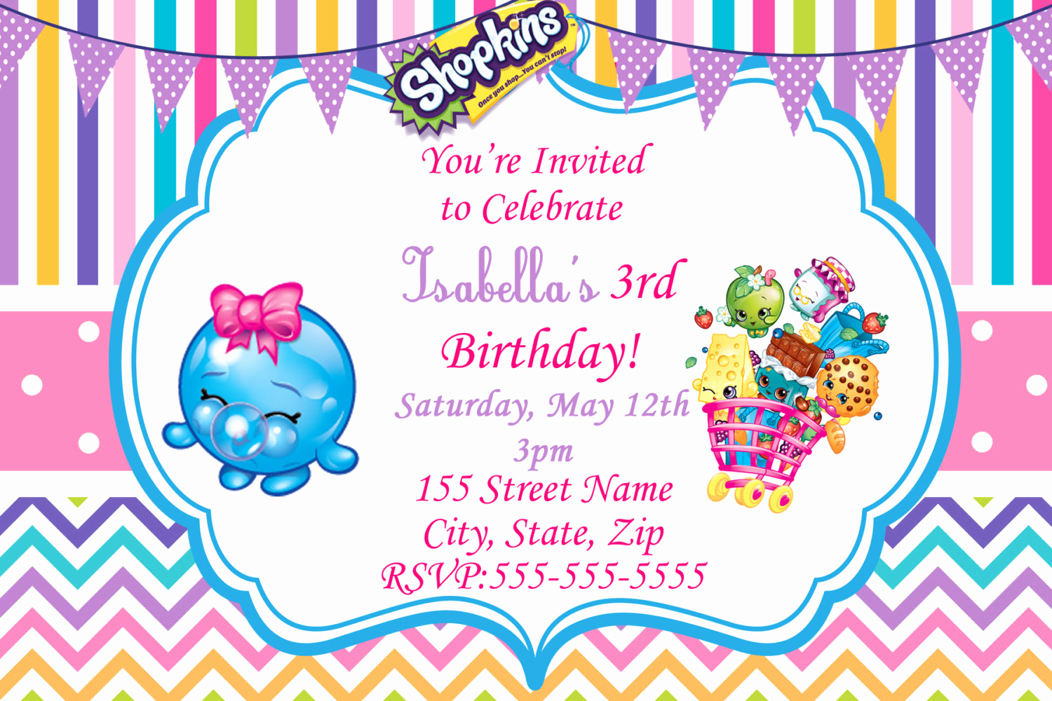 Free Shopkins Invitation Template Inspirational Shopkins Invitations Shopkins Birthday Party Invitation