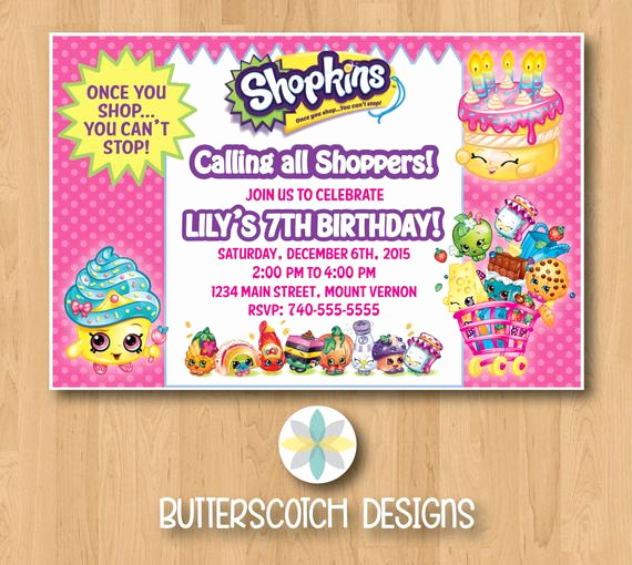 Free Shopkins Invitation Template Lovely Shopkins Birthday Invitation Printable Digital File