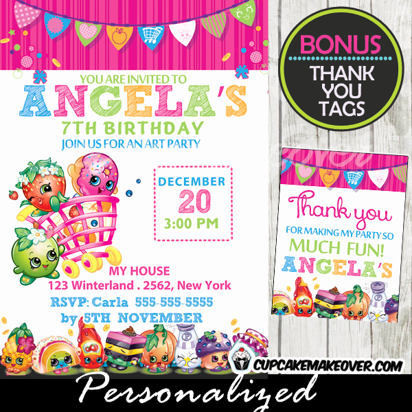 Free Shopkins Invitation Template Lovely Shopkins Birthday Party Invitation Personalized D3
