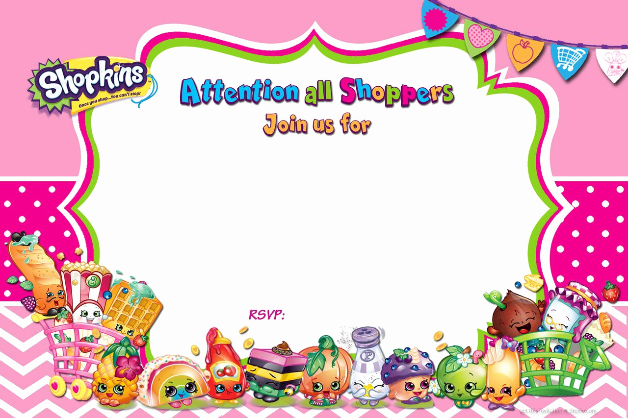 Free Shopkins Invitation Template New Cool Free Printable Shopkins Birthday Invitation Template