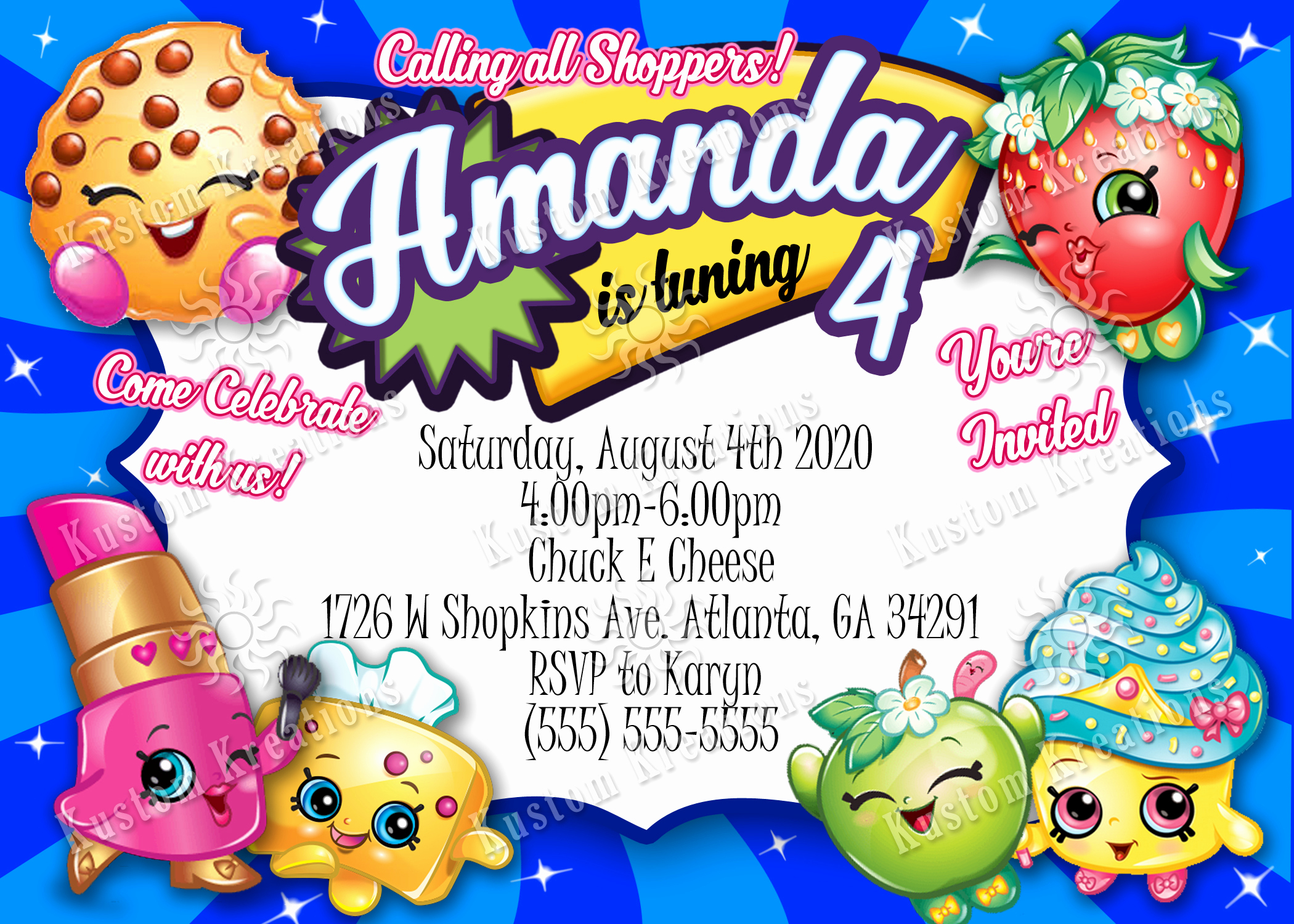 Free Shopkins Invitation Template Unique Shopkins Birthday Invitation