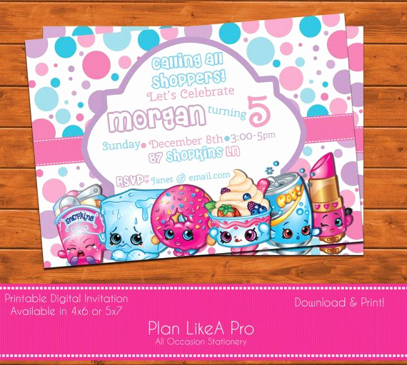 Free Shopkins Invitation Template Unique Shopkins Invitation Shopkins Birthday Shopkins by