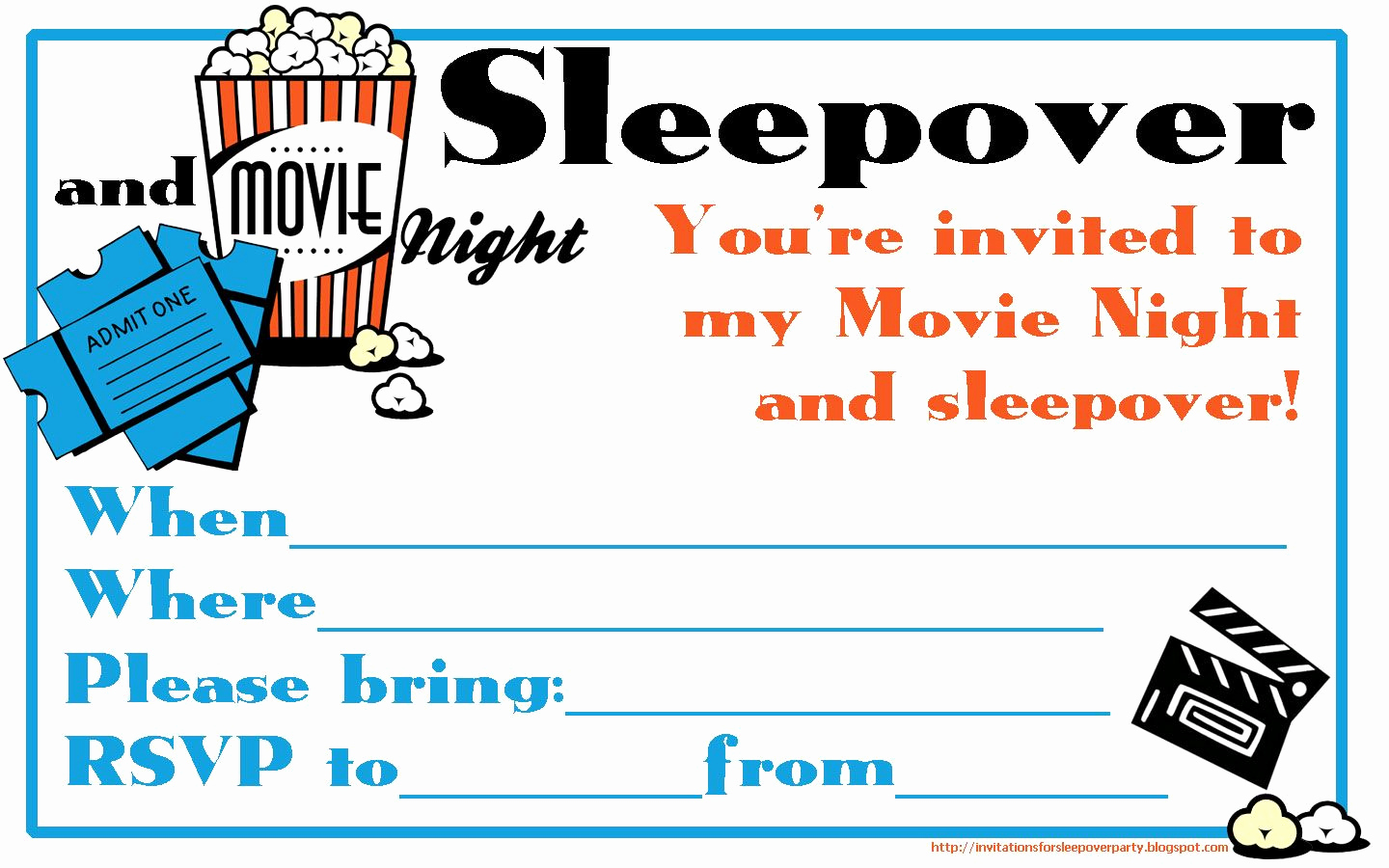 Free Sleepover Invitation Template Awesome Fill the Blanks On This Movie Night and Sleepover
