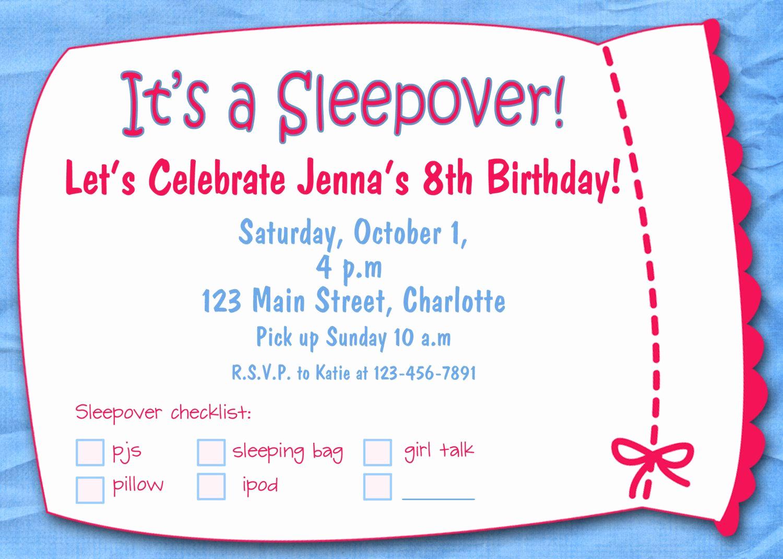 Free Sleepover Invitation Template Elegant Free Printable Sleepover Birthday Party Invitations Girls