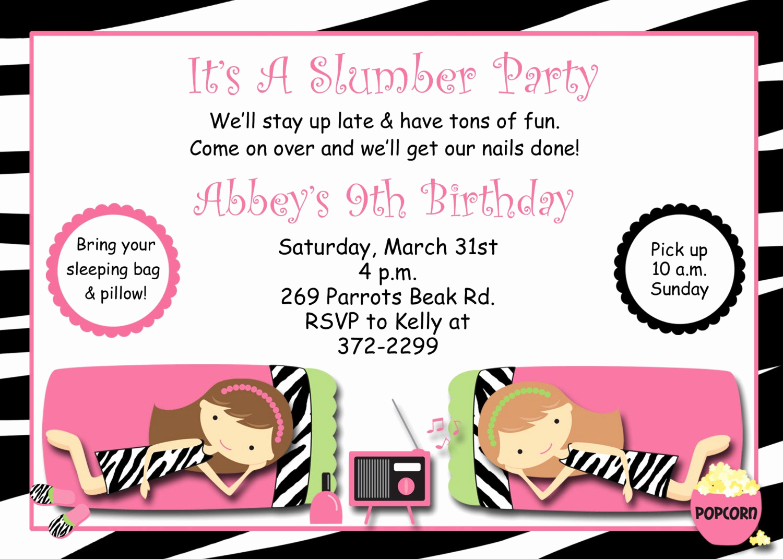 Free Sleepover Invitation Template Elegant Slumber Party Birthday Invitation Pajama Party Sleepover