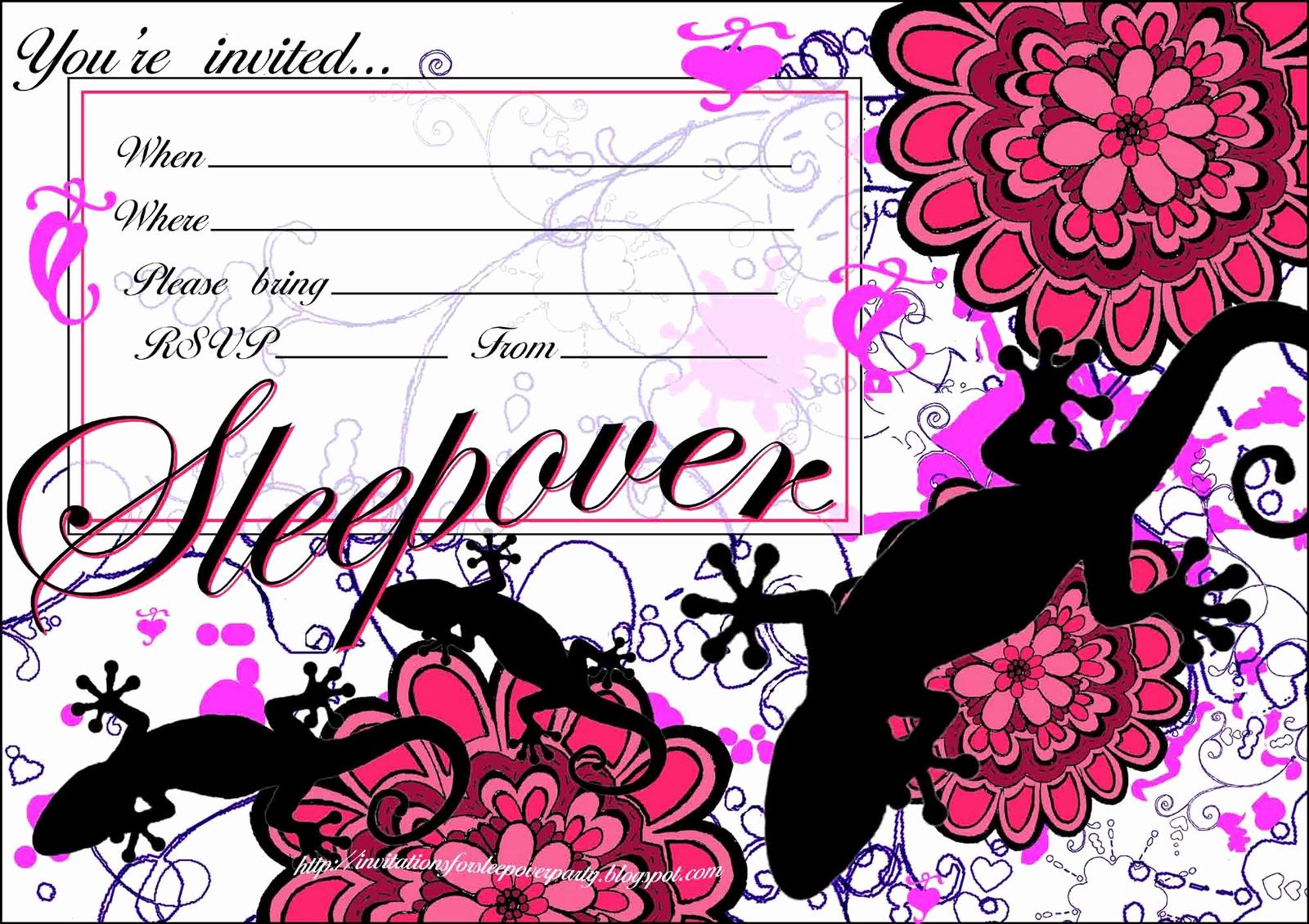 Free Sleepover Invitation Template Inspirational Invitations for Sleepover Party