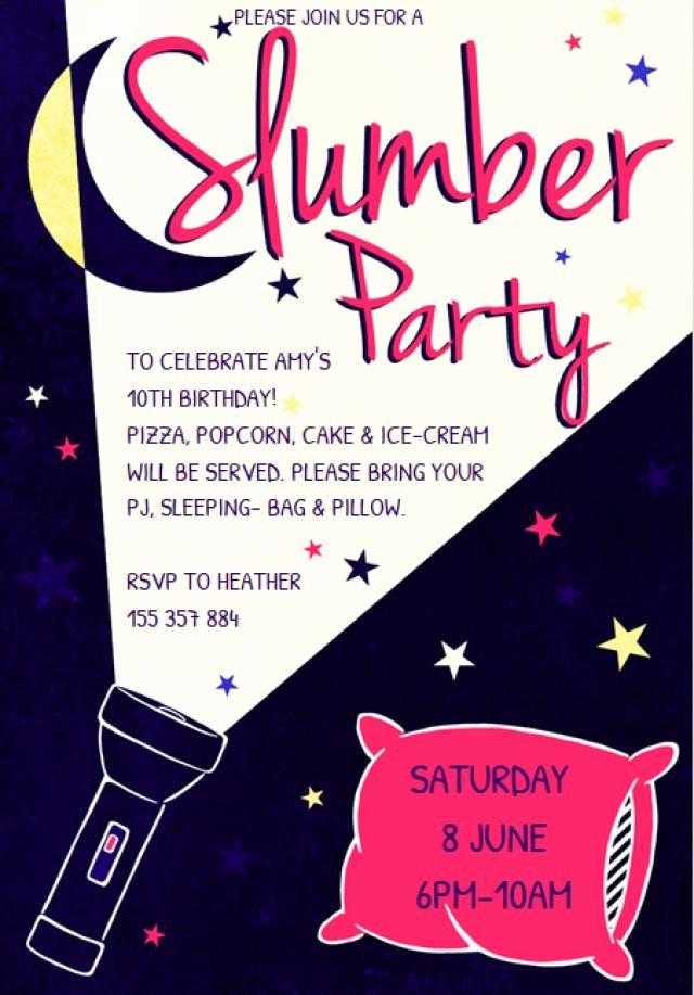 Free Sleepover Invitation Template Lovely Customize A Free Printable Slumber Party Invitation