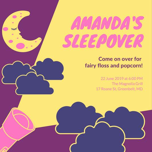 Free Sleepover Invitation Template Luxury Customize 60 Sleepover Invitation Templates Online Canva