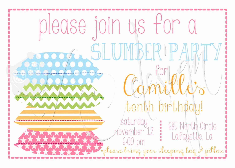 Free Sleepover Invitation Template Luxury Free Printable Slumber Party Invitations Girls