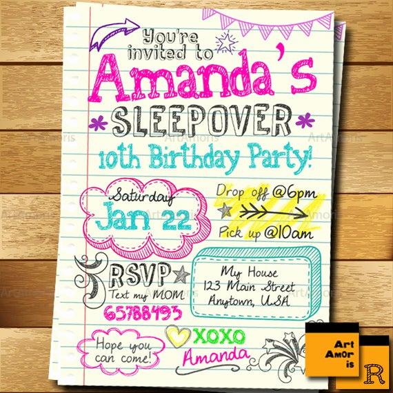Free Sleepover Invitation Template Luxury Sleepover Invitation Doodle Teen Notebook Sleepover