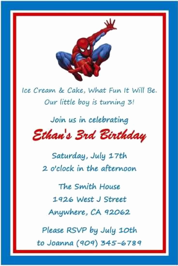 Free Spiderman Invitation Template Awesome Spiderman Superhero Birthday Invitations Favors Water