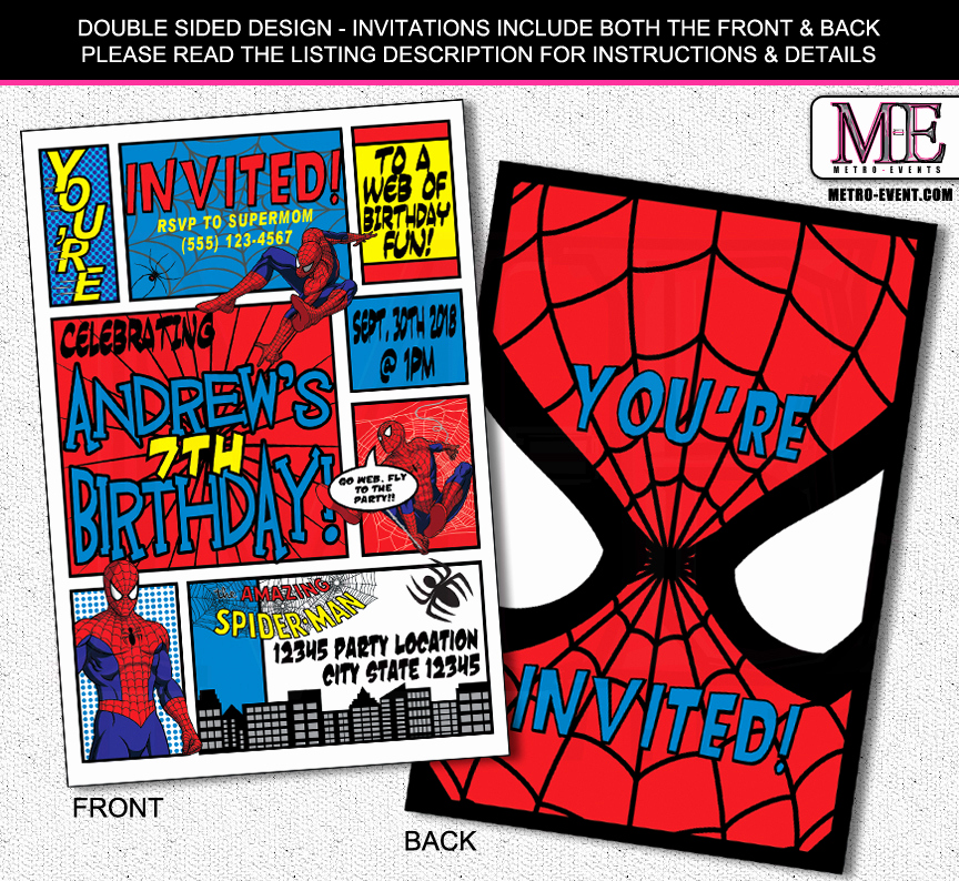 Free Spiderman Invitation Template Elegant Super Hero Invitations Super Hero Mania at Metro events