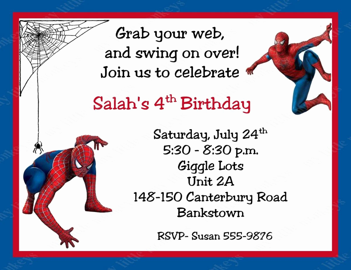Free Spiderman Invitation Template New Spiderman Birthday Invitations Personalized Free