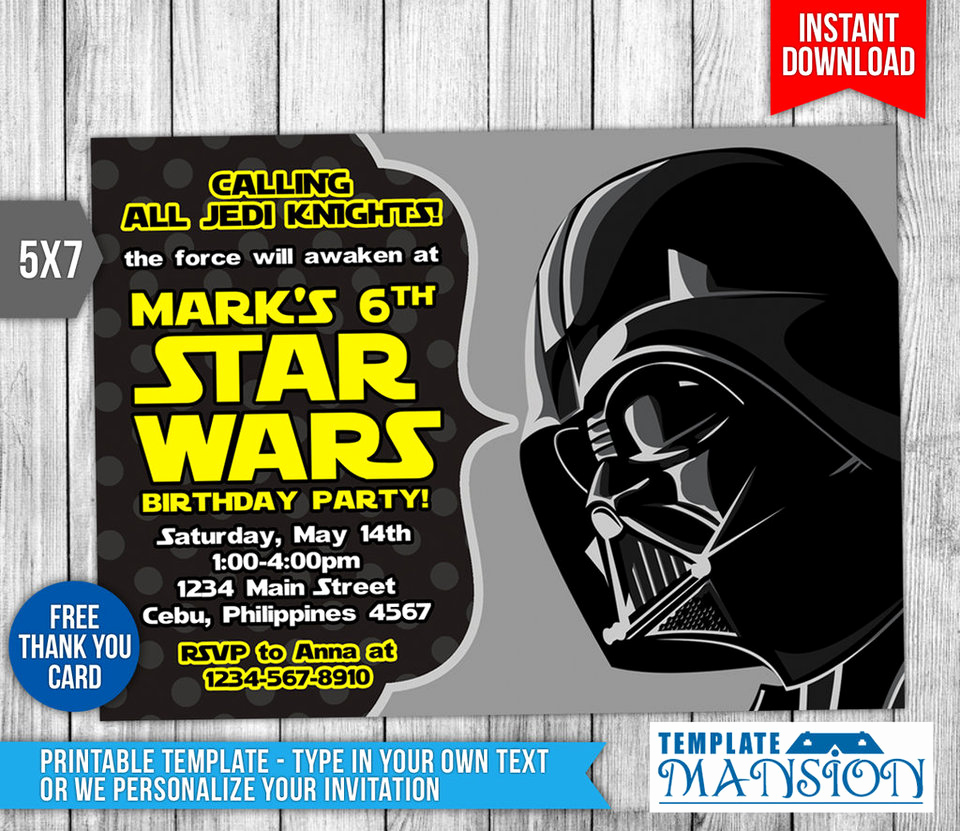 Free Star Wars Invitation Template Fresh Star Wars Invitation Birthday Invitation Psd by