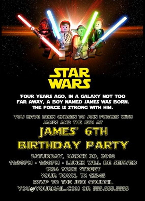 Free Star Wars Invitation Template Lovely Custom Printable Happy Birthday Invitation Lego Star Wars