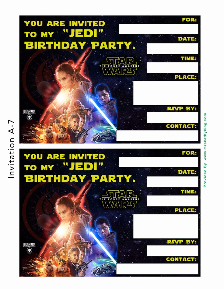Free Star Wars Invitation Template Luxury Free Star Wars the force Awakens Printable Party